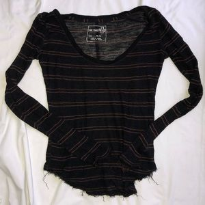 Free People Striped Long Sleeve Size M